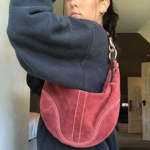 VINTAGE COACH SUEDE HOBO BAG
